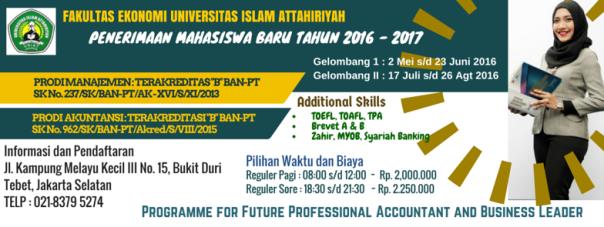 Fakultas Ekonomi Universitas Islam Attahiryah PMB 2016